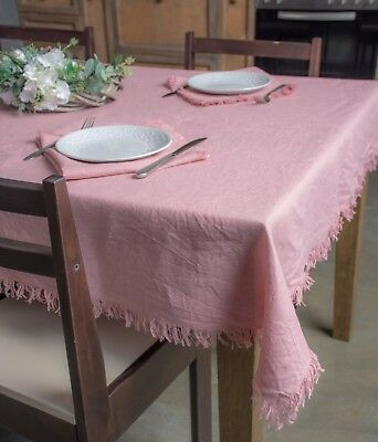 Linen Natural Tablecloth with Fringe Edges - Dusty Rose Cover for Dinner Table