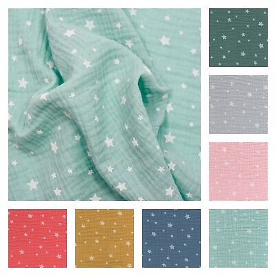 French 100% Cotton STARS DOUBLE GAUZE Muslin Fabric Dressmaking Crinkle Nursery