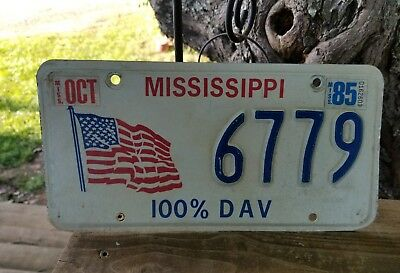 Mississippi  100% Dav  License Plate #6779.   1985 Sticker