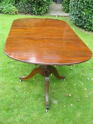 LARGE 19th CENTURY  REGENCY FLAME MAHOGANY TWIN PILLAR DINING TABLE TO SEAT 8