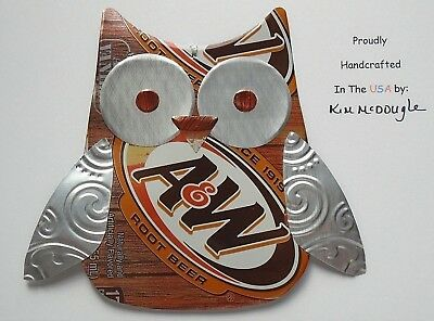 Owl Christmas Tree Ornament Handmade Recycled Aluminum Metal Root Beer Soda Can
