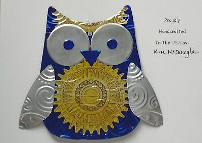 Owl Christmas Tree Ornament Handmade Recycled Aluminum Metal Blazer Beer Can