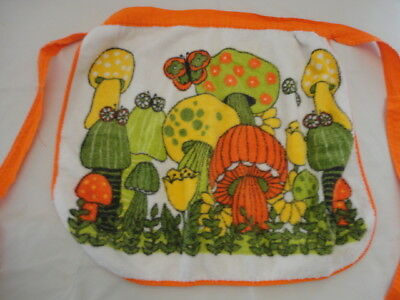 Vintage 1970's Retro Mushroom Print Terry Cloth Half  Apron