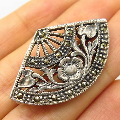 925 Sterling Silver Vintage Real Marcasite Gemstone Floral Pin Brooch Jewelry & Watches