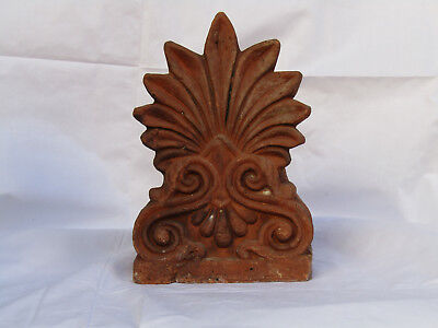 antique Greek Neoclassical Anthemion antefix terracotta signed circa 1890-1920