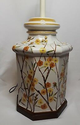 Large Vintage MCM Pottery Table Lamp Hollywood Regency Asian Oriental Palm Beach