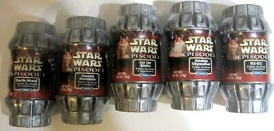 Full Set of 5 Star Wars Episode 1 Film Action Containers - R2D2, Darth Maul ....