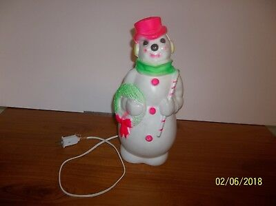 """Vintage Christmas 1968 Empire Lighted 13"""" Snowman Blow Mold"""