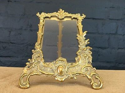 Vintage Solid Brass Free Standing Rococo Style Easel Photo Picture Frame