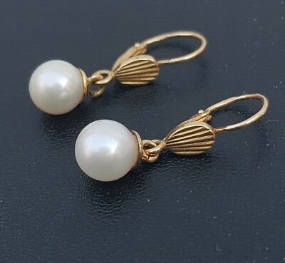 BOUCLES D'OREILLES OR 18 k (2x2 POINÇONS AIGLES)  - PERLES CULTURE