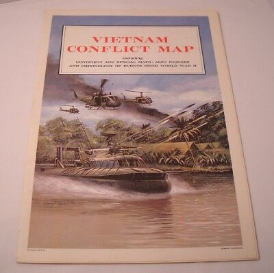 Vietnam Conflict Map - by Hammond, Inc. - 1967 - Vintage (O161)