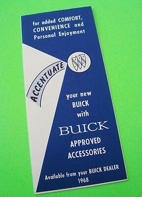 original 1968 BUICK APPROVED ACCESSORIES FOLDER BROCHURE Scarce Nr-MINT