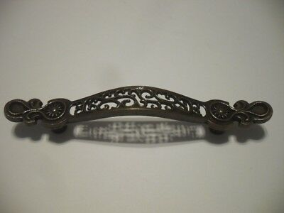 Vintage NOS Drawer Pull Antique BRASS Handle VICTORIAN Cutout Pattern LACY LOOK