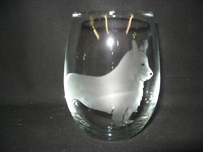 New Etched Corgi Stemless Wine Glass Tumbler