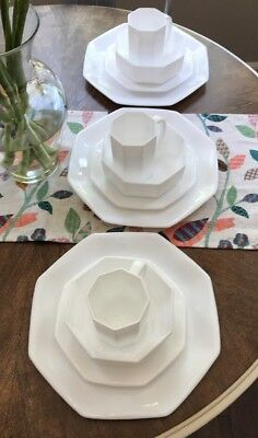 Arcoroc France Octime Set 12 White Dinner Salad Plates Coffee Cups Bowls Octagon