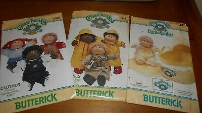 BUTTERICK x 3 CABBAGE PATCH KID DOLL CLOTHES & BED CARRIER - UNCUT & FF -1