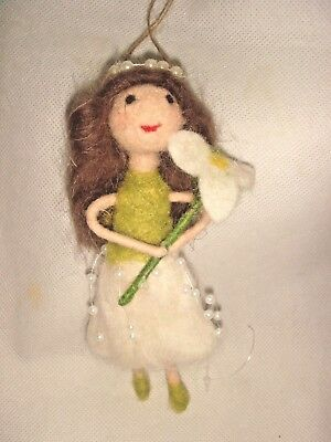 Pin Felt Needle Felted Collectible Winter Snowdrop Pixie Fairy Hanger Ooak Doll