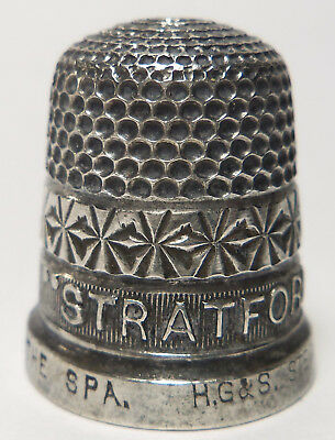 """Antique Sterling Silver Thimble STRATFORD ON AVON """"THE SPA"""" HG&S"""