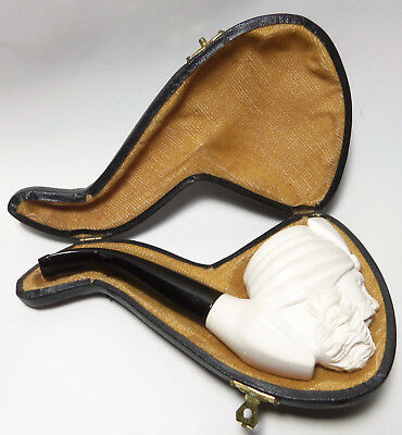 Estate Cased Meerschaum Pipe Hand Carved Face LIGHTLY SMOKED