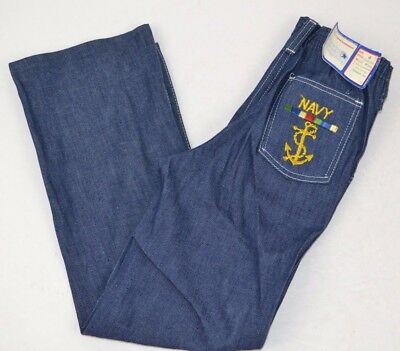 Vtg Young MAVERICK 1/2 Elastic Embroidered NAVY ANCHOR Denim Blue Jeans sz 6 USA