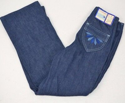 Vtg Young MAVERICK Denim BLUE JEANS Embroidered BLUE DIAMONDS 6 USA