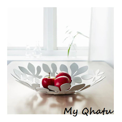"""IKEA STOCKHOLM Steel White Stainless 16"""" Bowl Table decor NEW Discontinued"""