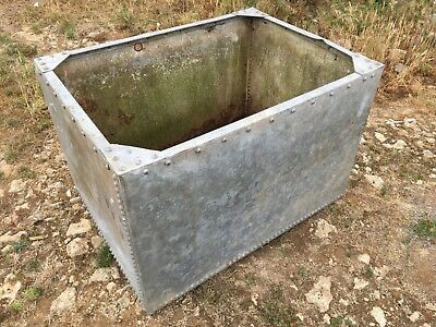 Salvaged Large Old Vintage Galvanized 4' Riveted Water Tank Garden Planter Tub