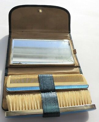 1920's European Grooming Set .935 Silver, Blue Guilloche Enamel, leather case