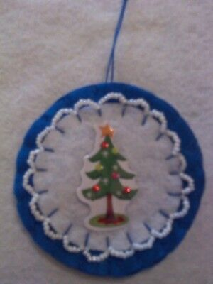 New handmade felt with a Tree and white beads Christmas ornaments