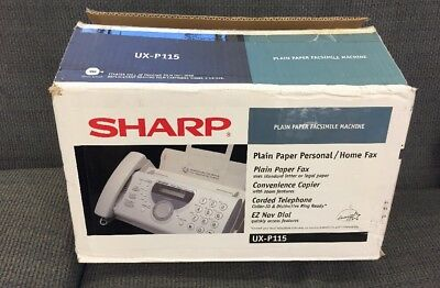 Sharp Ux P115 In Box Plain Paper Fax Machine Copier Facisimile - Brand New