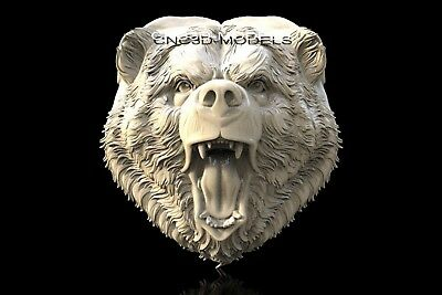 3D Model STL for CNC Router Engraver Carving Artcam Aspire Bear Head Animal f416