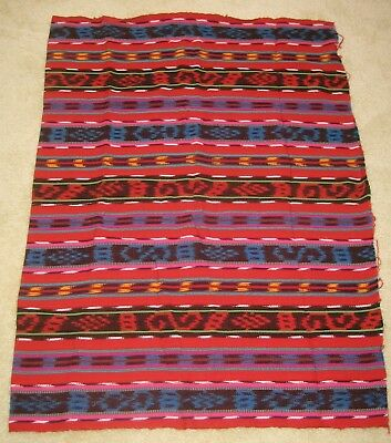 "Vintage Guatemalan Multicolor Ikat Cotton Fabric Traditional 36"" wide x 50"" long"