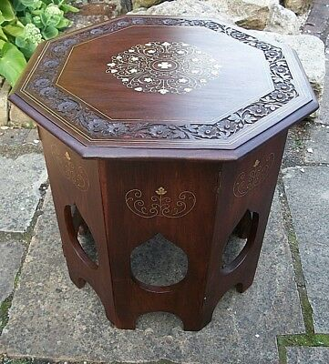 Vintage Octagonal Anglo/indian  Folding  Inlaid Wooden Side Table
