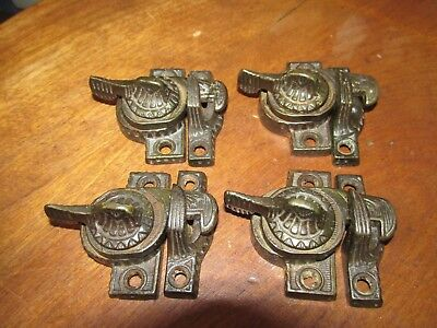 4 Matching Ornate Antique Victorian Cast Iron Window Sash Locks & Keepers