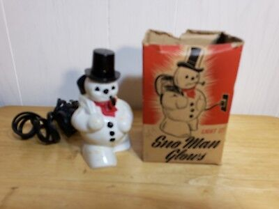 Vintage Miller Rosbro Plastic Snowman Sno-Man Christmas Light With Box