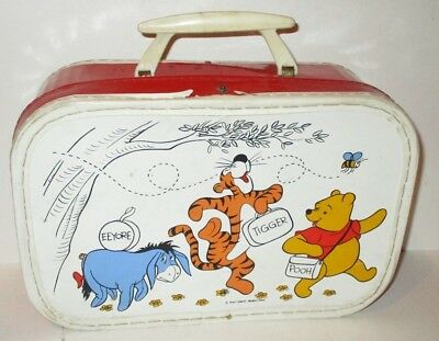 Vintage Disney Winnie The Pooh Child's Vinyl Suitcase Luggage Tigger Eeyore