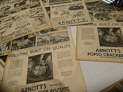 Original old Arnotts Biscuits newspaper advertising ads 1933 x 11