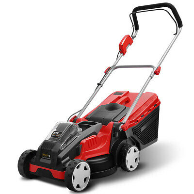 Lawn Mower Cordless Lawnmower Lithium Battery Powered  -Red & Black