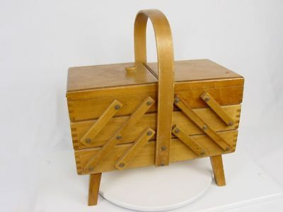 Vintage Romania Fold Out Accordion Dovetail Wooden Craft Sewing Battery Box