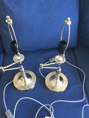Pair of Silver Steel Swing Arm Good Quality Heavy Table Reading Lamps. Ex Con.