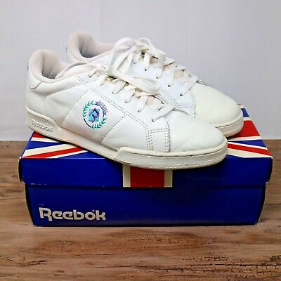 3551247a6c8ba Vintage Reebok Newport Classic Insignia White Leather Tennis Shoes Sneakers  Sz 8