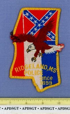 RIDGELAND MISSISSIPPI Sheriff Police Patch CSA CIVIL WAR BATTLE FLAG STATE SHAPE