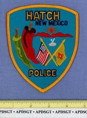 HATCH NEW MEXICO Sheriff Police Patch RED GREEN CHILI PEPPERS INDIAN ZIA UFO
