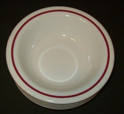 5 Five Buffalo China Red Stripe Rim Soup Cereal Bowl