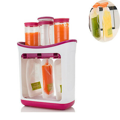 Baby Feeding Food Squeeze Station Toddler Infant Fruit Maker Dispenser Storage W