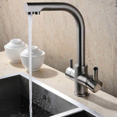 Contemporary Brushed Nickel Kitchen Faucet with Filtered Water Solid Brass Tap