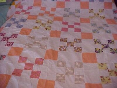 Vintage Hand Pieced Quilt Top; Orange And White Nine Patch