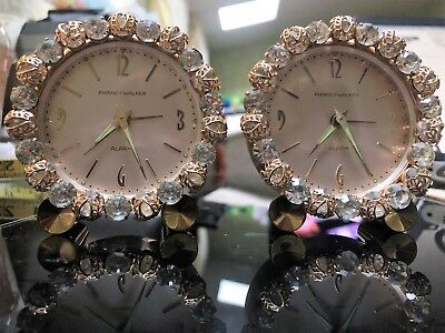 Phinney-Walker Vintage Rhinestone Boudoir Alarm Clocks Made in Germany