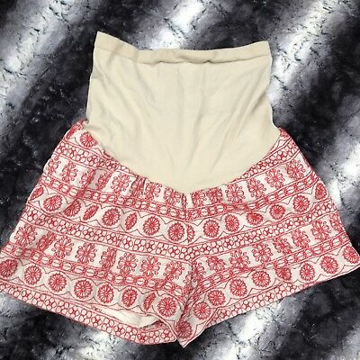 A Pea in the Pod Maternity Shorts XS Secret Fit Belly Summer short embroidered