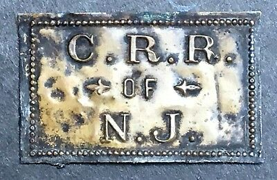 Antique Central RR of NJ Builders Plate Property Tag Jersey Central Railroad